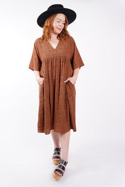 Rosalie Animal Spot V Neck Midi Dress