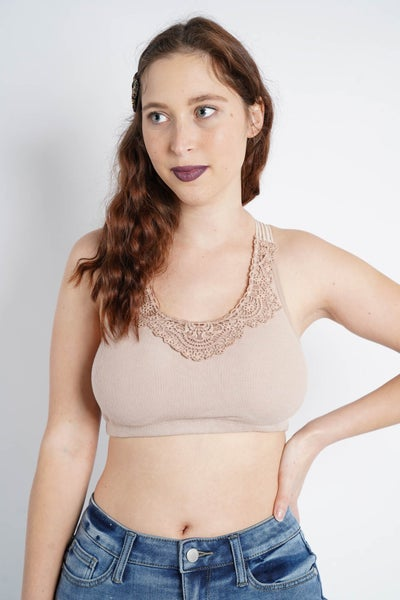 Floral And Ribbed Knit Bralette By Easel, Many Colors Available