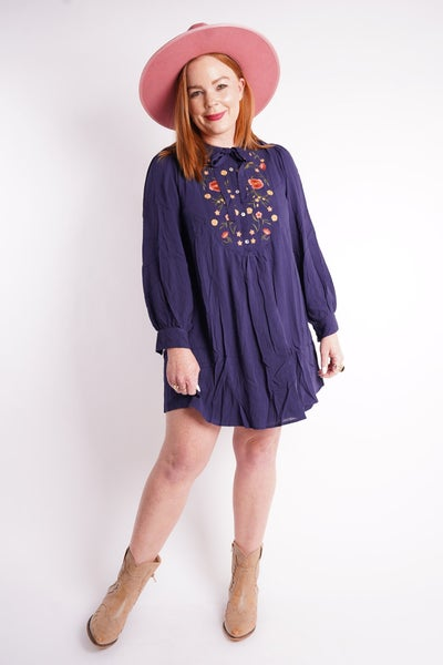Breath Of Spring Embroidered Neck Tie Dress, 2 Colors!