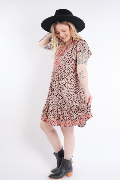 Lovely Leo Embroidered Babydoll Dress