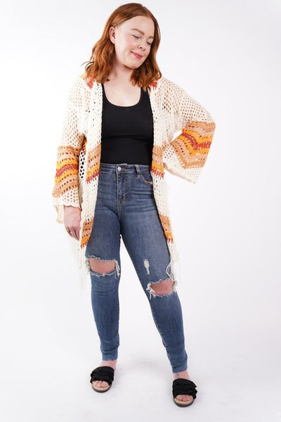 Sunset Getaway Open Knit Fringe Cardi