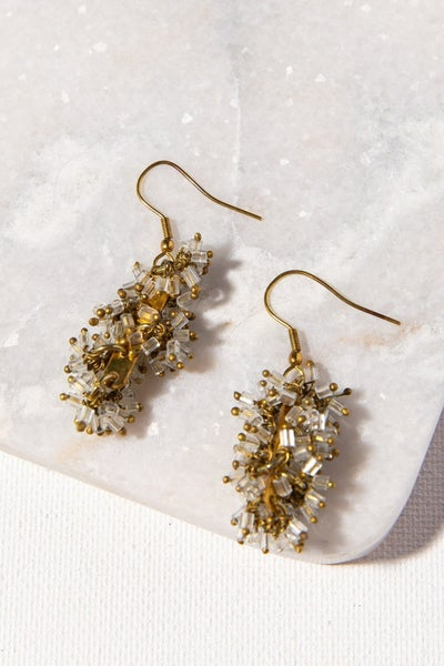 Clear Glass And Brass Drop Earring