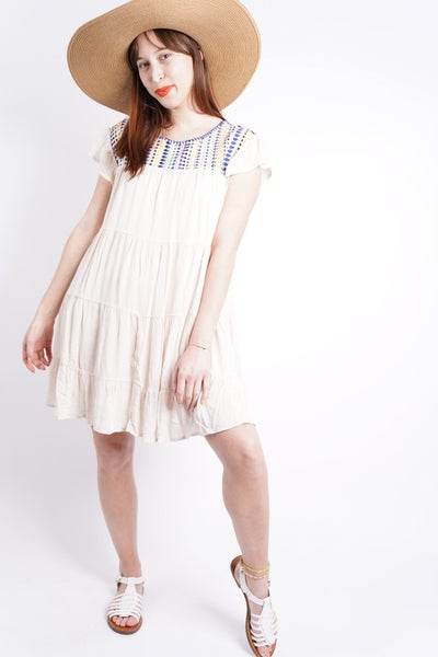 Romi Tiered Embroidered Stitch Dress