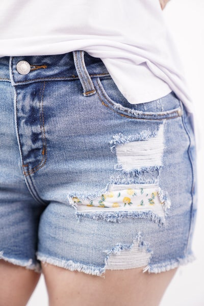 Lemon Patch Destroyed Shorts by Judy Blue