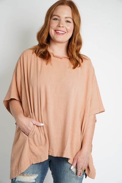 Time To Unwind Frayed Linen Poncho