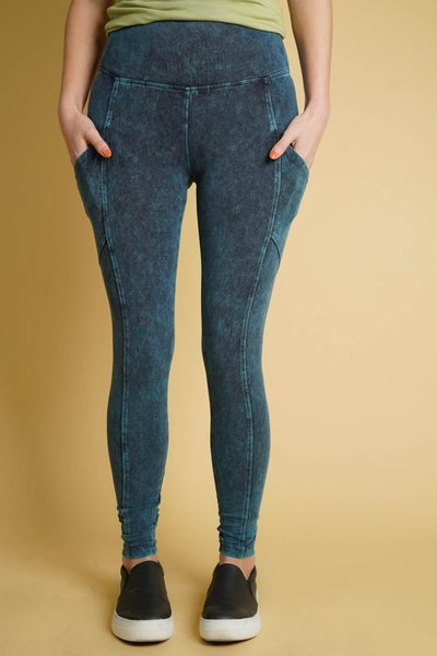 Mineral Wash Wide Waistband Leggings