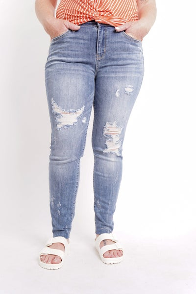The ARIA Mid Rise Distressed Skinny By Judy Blue