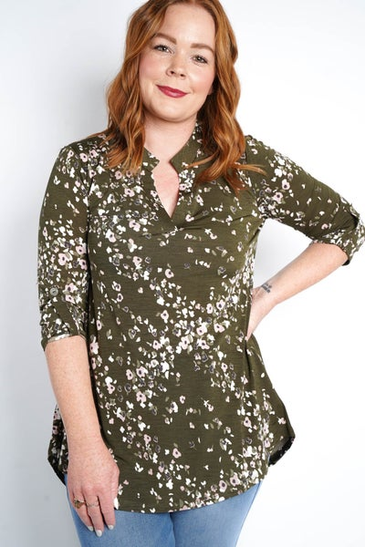 Down To Earth Gabby Tunic Top, Olive