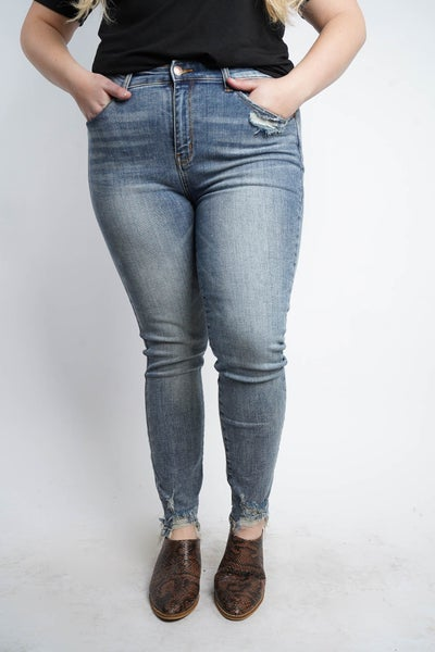 The IRIS High Waisted Destroyed Hem Skinny By Judy Blue