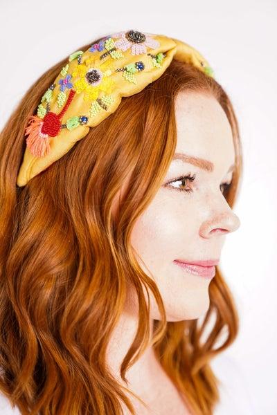 Embellished Flower Bead Fashion Headband