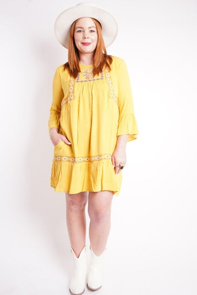 Sunny Holiday Embroidered Dress, 2 Colors!
