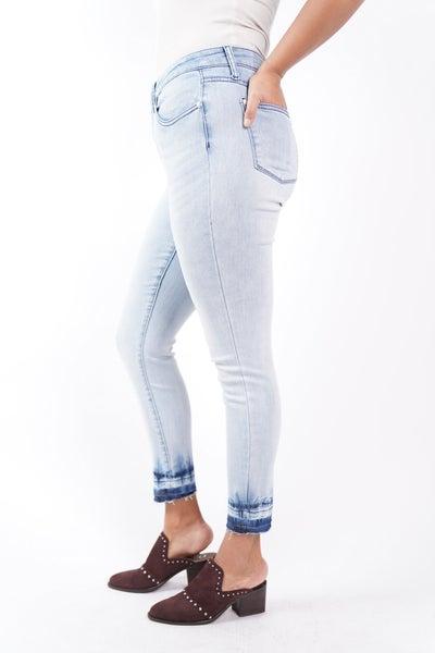 The EVA Mid Rise Skinny Undone Hem Jeans By Judy Blue