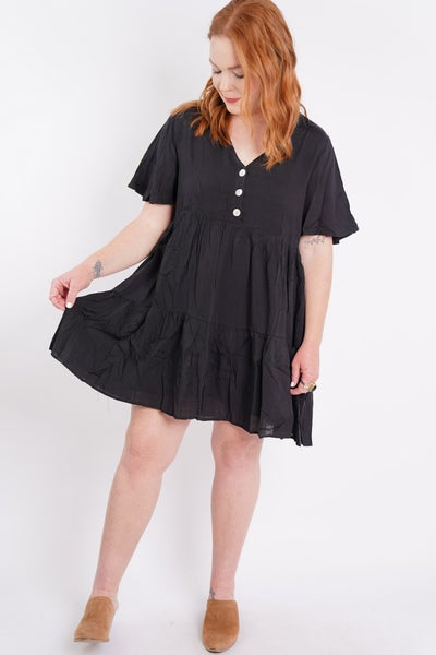 Happy Tiers V Neck Button Down Dress