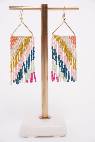 Pink Ctron Peacock Diagonal Stripe On Triangle Earring