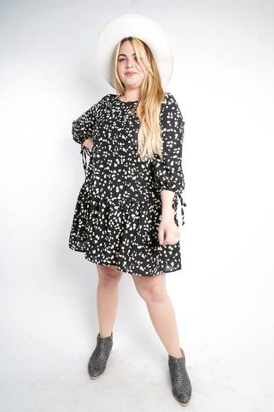 Dot My Problem Lightweight Dress, Black