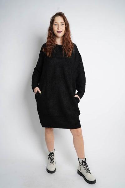 Let's Make Knit Happen Tunic Dress, Black
