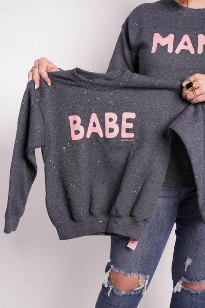 "Kids ""Babe"" Bleached Graphic Sweatshirt"