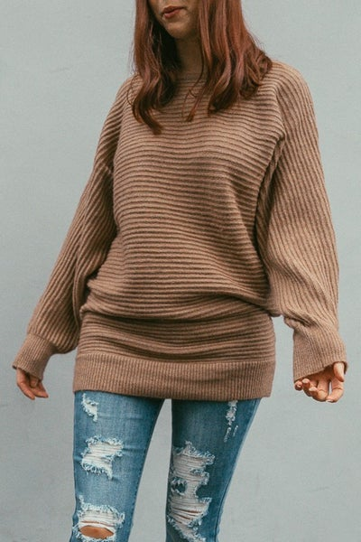 Straight Chillin' Ribbed Sweater Dress By Easel