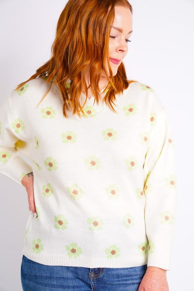 Flower Power V Neck Sweater, 2 Colors!