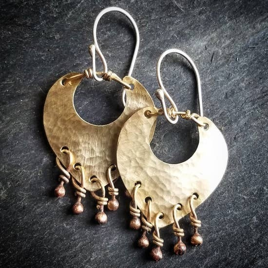Small Liberty Earrings In Brass - Metalsmith Made!