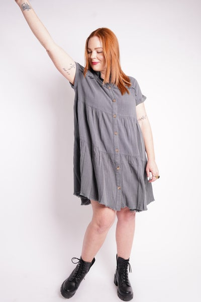 Matilda Button Down Tiered Dress, 2 Colors!