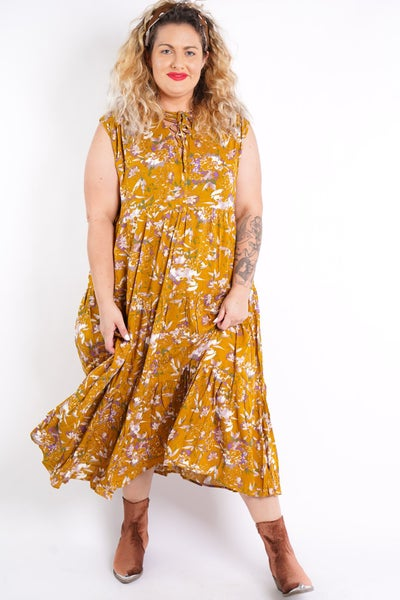 Mad For Floral Sleeveless Midi Dress, 2 Colors!