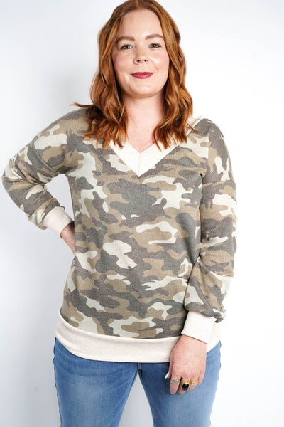 Cute In Camo French Terry Top, Green