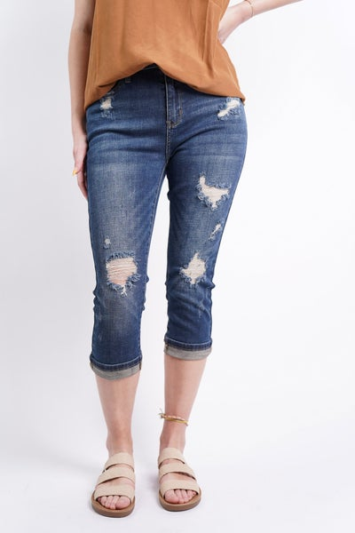 The Rylee High Rise Cuffed Destroyed Skinny Capri by Judy Blue
