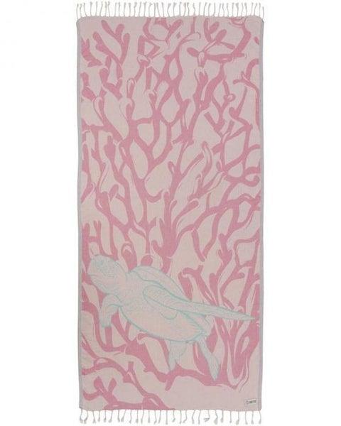 Blush Coral Reef Turtle Towel