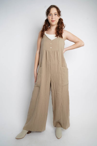 All For One Wide Leg Jumpsuit, Khaki