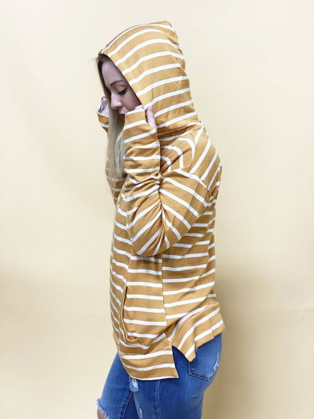 UT Exclusive EJ Hoodie, Mustard French Terry Stripe