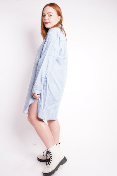 All Or Nothing Long Sleeve Shirt Dress
