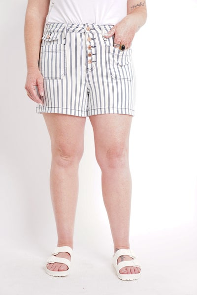 The CHLOE High Waisted Striped Patch Pocket Shorts By Judy Blue