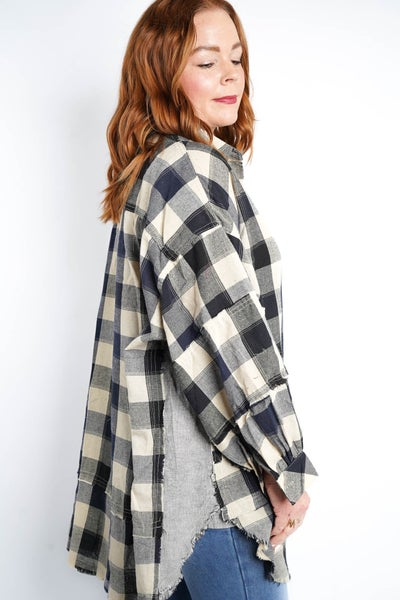 Picnic Flannel Dress By Easel, Navy
