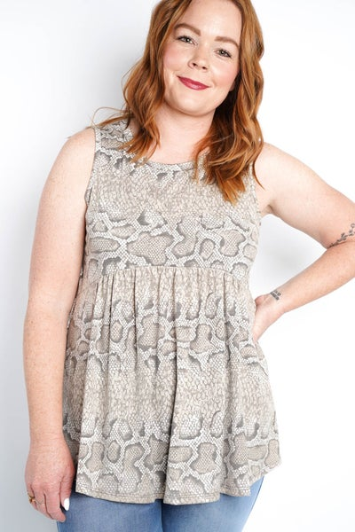 Come Slither Snake Tank, Taupe