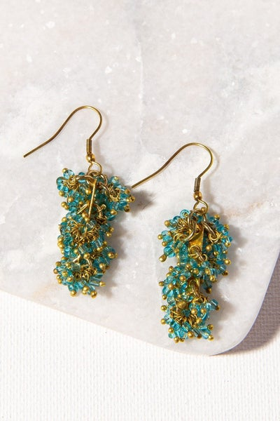 Turquoise Glass And Brass Drop Earring