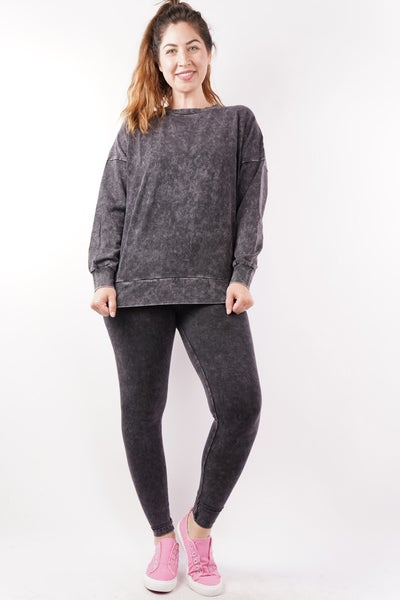 Perfect Solution Mineral Washed Pullover & Leggings Set, 4 Colors!
