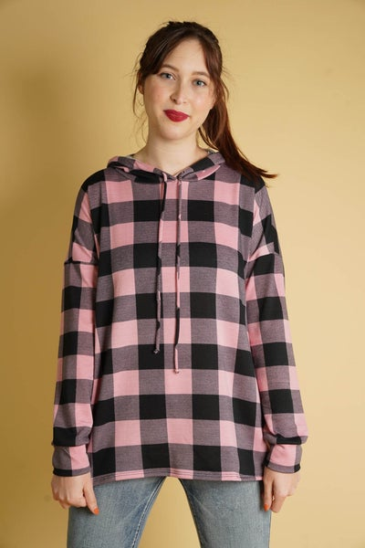 Maisy Hoodie In Checkered Mauve