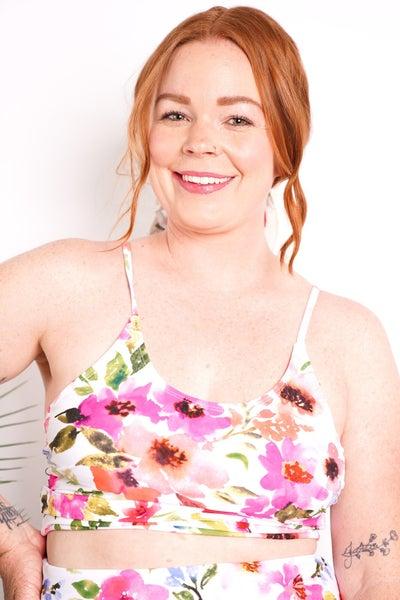 Violet Tie Up Back Swim Top - Floral