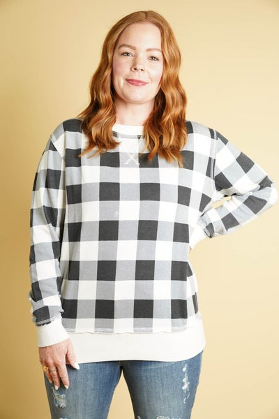 Just Checking Up Plaid Sweatshirt, White