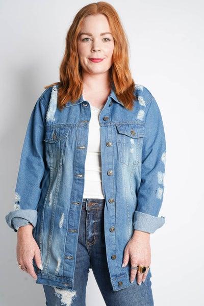 Arizona Oversized Distressed Denim Jacket