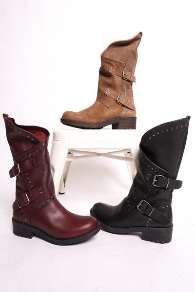 Falida Buckle Detailed Mid-Calf Boots