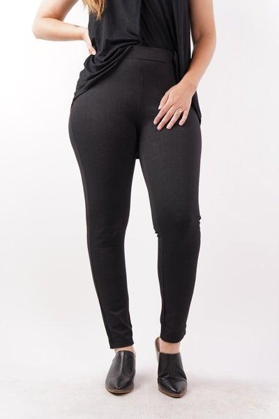 Plaid Magic Ponte Pants, Black