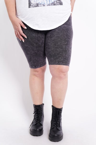 Runnin' My Mind Mineral Washed Bike Shorts, 2 Colors!