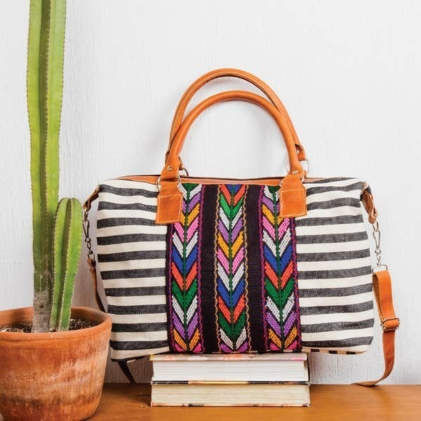 Striped Day Bag With Leather And Corte