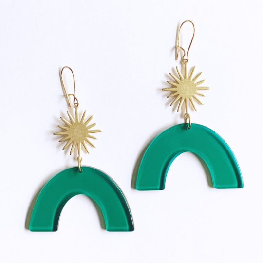 Starburst Green Acetate Rainbow Earrings