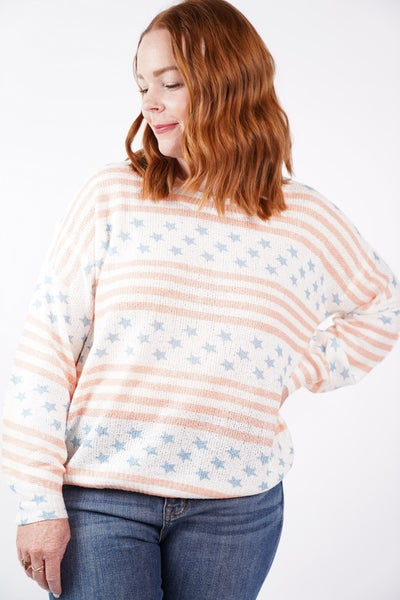 Stellar Stars And Stripes Lightweight Knit Sweater