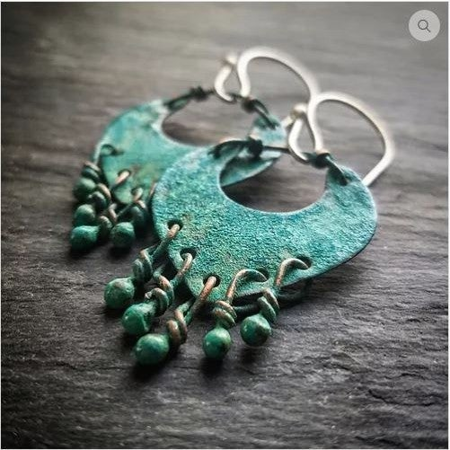 Small Liberty Earrings In Patinated Copper
