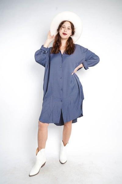 Boss Babe Oversized Button Down Dress, Blue