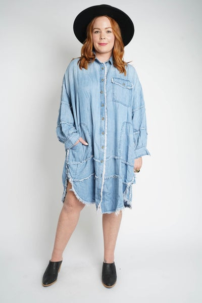 Blue For You Chambray Oversized Shirt Dress